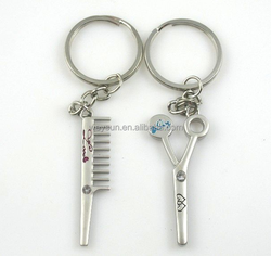 "Key Accessaries ""Comb & Scissors"" Custom Promotion Gifts Keychains/lovely key chain/zinc alloy lover key rings"