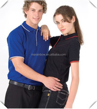 plain design striped knitted collar and cuff fashion couple polo shirt sports collar polo t shirts custom made
