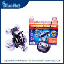 2015 novelty plastic 360 degree rotation rc stunt toy car