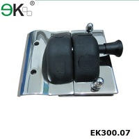 Stainless steel glass double door latch with key lock
