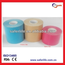 2015 waterproof K cotton sport therapy cure muscle elastic multicolor 7.5cm 5m kinesioloty tape 7cm*5m kinesiology tape