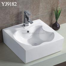 YJ9182 Square Iphone Pattern Hand Washing Sink, Porcelain New Design Basin for Bathroom