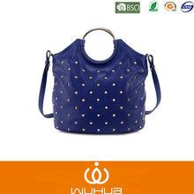 2014 New Fashion Blue Studded Pu Handbags With Metal Handles