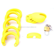 Locking Male Chastity Belt Device Silicone Crafts Male Chastity Device Cock Cage Rubber Sex Toy Men Bird Lock Silicone Belt