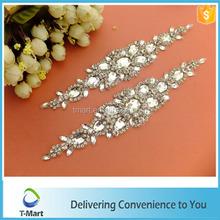 fashion design crystal applique decoration for wedding dress
