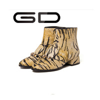 European and american style cheap spring/autumn leopard print ankle boots sexy flat women shoes