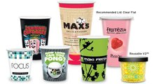 Paper and plastic cups with full color print / digital logo.