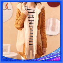 Warm Fleece Hoodie Knitwear Cardigan Knitted Sweater For Ladies Coat Women Jacket