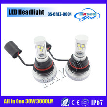 Latest 9004 White 3000LM 3S LED Headlights 30W Lamps X2