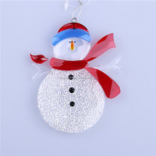 Snowman with red bird on branch ornament 01402031 new style indoor decoration 2015 shining crystal