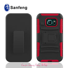 Hot selling pc silicone hybrid cases For Samsung S6 Edge durable heavy duty cover For Galaxy S6 Edge With belt kickstand