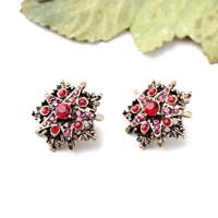 Fashion Vintage Women Red Rhinestone Clip on Earrings Stud Bijoux