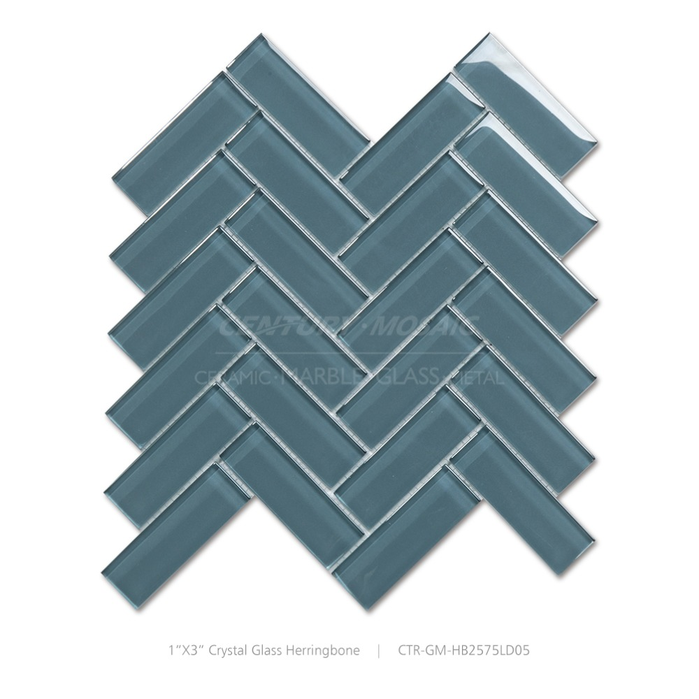 1 Quot X3 Quot Green Crystall Glass Herringbone Mosaic Tile For