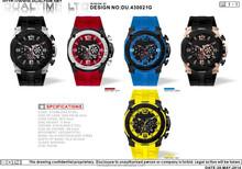 2015 fashional silicon men's sport wrist watches, diver chronograph stainless steel quartz watches