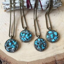 N15070101 Setting Turquoise Stone Round Necklace With Copper Chain Necklace