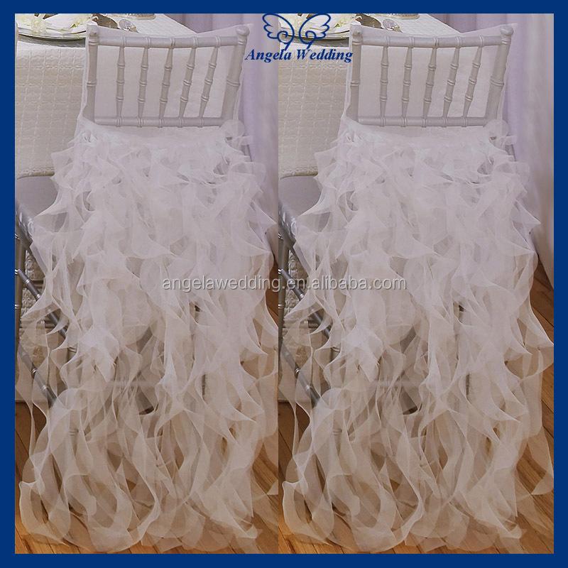 CH010A Wholesale Cheap Chiffon And Organza White Ruffled Wedding Chair Cover
