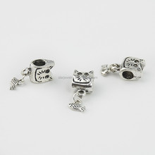 antique silver big hole bead custom metal big hole bead for key chain