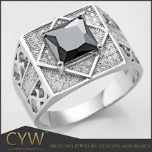 CYW China wholesale high quality 925 silver black zircon stone men's ring jewelry for men