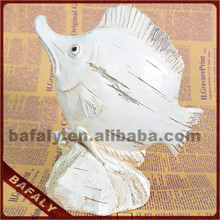 metal fish ornaments wholesale, fish statue in white color, tropical fish sculpture