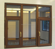 Villa wooden composite aluminum window, solid red oak window & lacquer finishing.