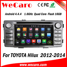 Wecaro Android 4.4.4 car dvd player 1024 * 600 for toyota hilux radio player with usb mp3 A9 cpu 2012 2013 2014