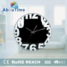 3D Customized glass pendulum wall clock 12inch bulk fluorescent wall clock