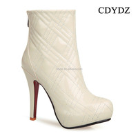 CDYDZ Y121 Fashion white patent leather side zipper plaid waterproof heels Ladies winter Short ankle Boots 2015