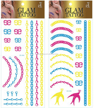 North America Fashion Body Jewelry Fluorescence Gold and Silver Foil Temporary Tattoo