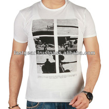 White Jersey T-Shirt with Apache Helicopter Printed on Front
