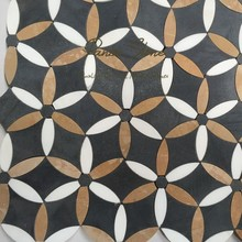 New Design Mixture of Thasos White, Emperor Gold and Basalt Flower Round Water Jet Mosaic Tile
