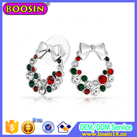 Wholesale alloy earring jingle bells inspired cute Christmas earrings jewelry CHRISTMAS gift