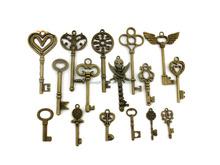 16pcs/lot Retro Mix Key shape Pendants Jewelry Making Findings