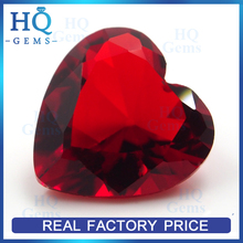 HQ synthetic large glass gems rose red heart cut