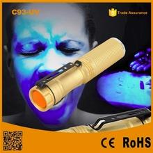 POPPAS-C93 -UV Design For Girls Golden/Black 365nm Import UV LED 1xAA or 1x 14500 Rechargeable Portable 365NM UV Flashlight