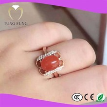 fashionable 925 silver natural Agate 7X9mm affordable engagement rings