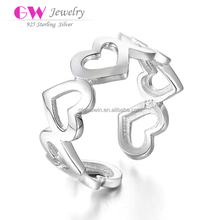 Newest Design Connective Hearts Silver Wedding Ring