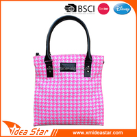 Pink fashion plaid good quality canvas shoulder bags for women 2015