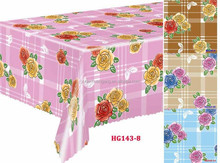 plastic waterproof tablecloths/ pvc printed flower table cloth