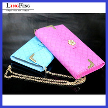 "Fashion leather universal flip phone case 5.5"" purse flip cell phone case with metal chain"