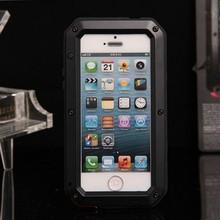 Metal Aluminum Shockproof Gorilla Glass waterproof mobile phone case for iphone 5 5s