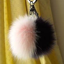 Factory Direct Sale 10cm rabbit fur pompoms with keychain