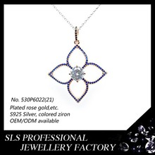 2015 multicolor 925 sterling silver jewelry rose gold clover necklace pendant for individual buyer