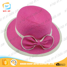 wholesale hot sale beautilful pink girl straw hat with pink bowknot promontional WP2621
