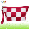 Special design cosmetic bag with red&white webbing made of