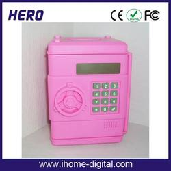 2015 newest design plastic digital counting piggy money box/coin bank saving money box with high quality