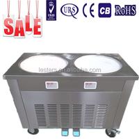Fried frozen yogurt/Soft ice cream machine /Double flat round pans fry roll ice cream machine