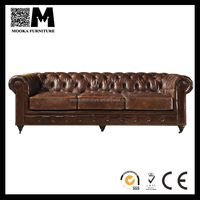 hot sell antique aviator leather chesterfield vintage sofa