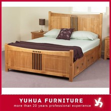 Classic Bedroom Furniture Double Size Solid Wood Bed With Draw Box