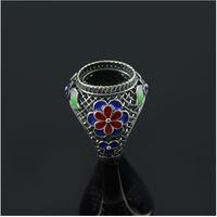 Retro precious stones emerald green inlaid amber wholesale sterling silver ring mountings