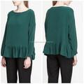 2015 moda de manga comprida blusa decote redondo verde blusa de seda